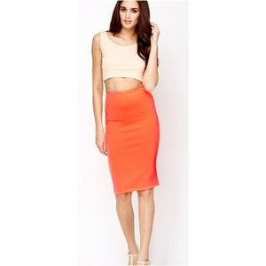 NWT! Agnes & Dora Neon Coral Pencil Skirt